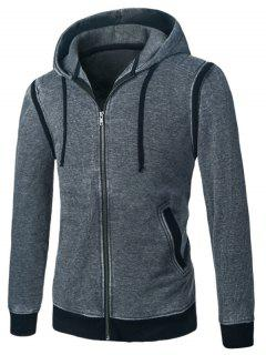 Hooded Panel Design Zip Up Fleece Hoodie - Gray M