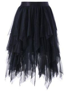 Layered Asymmetric Tulle Skirt - Black Xl