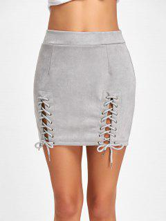 Faux Suede Lace Up A-line Skirt - Gray Xl