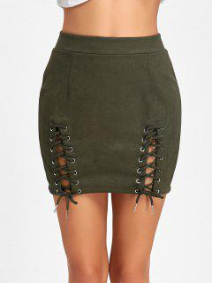 Faux Suede Lace Up A-line Skirt - Army Green M