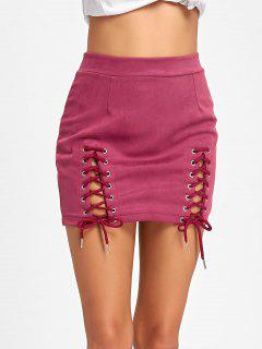 Faux Suede Lace Up A-line Skirt - Peach Red L