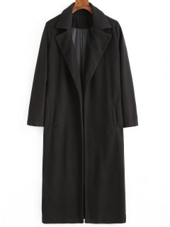 Lapel Coat With Pockets - Black Xl