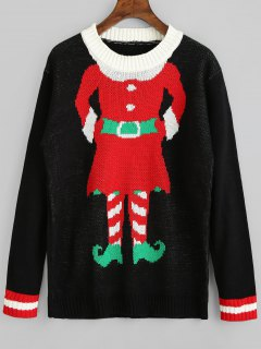 Graphic Christmas Pullover Sweater - Black