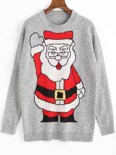 Santa Claus Christmas Sweater - Gray