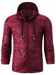 Hooded Drawstring Zip Up Lightweight Jacket - Wine Red 3xl