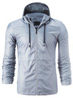 Hooded Drawstring Zip Up Lightweight Jacket - Gray 4xl