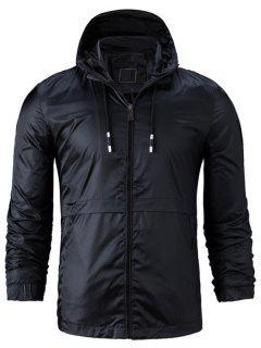 Hooded Drawstring Zip Up Lightweight Jacket - Black 2xl