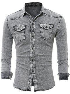 Flap Chest Pocket Long Sleeve Denim Shirt - Gray 2xl
