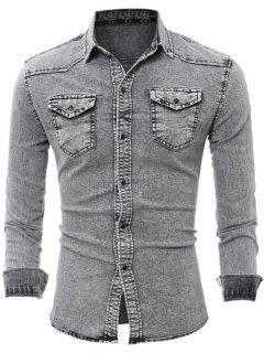 Flap Chest Pocket Long Sleeve Denim Shirt - Gray Xl