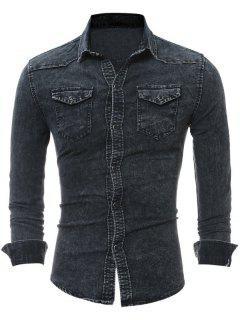Chemise Denim Avec Poches à Rabat  - Noir 3xl