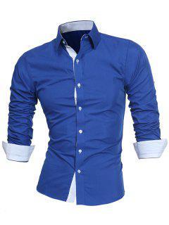 Turndown Collar Panel Design Formal Shirt - Blue L