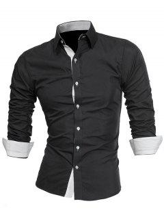Turndown Collar Panel Design Formal Shirt - White And Black L