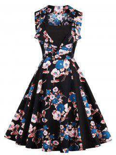 Vintage Floral Print Fit And Flare Party Dress - Black Xl