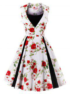Vintage Floral Print Fit And Flare Party Dress - White S
