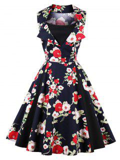 Vintage Blumendruck Fit Und Flare Partykleid - Schwarzblau S