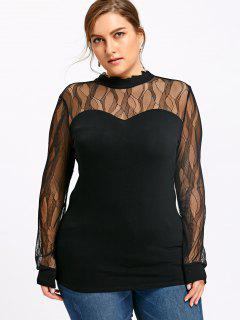 Plus Size Sheer Mock Neck Top - Black 3xl