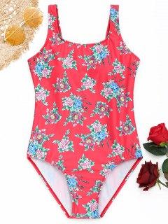 Maillot De Bain Une Pièce à Motifs Floraux - Pastèque Rouge L