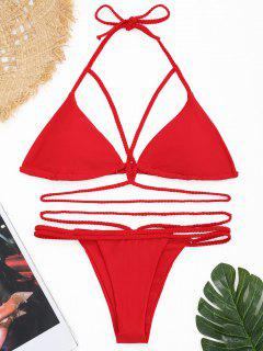 Strappy Plaited Halter Banded Bikini Set - Red L