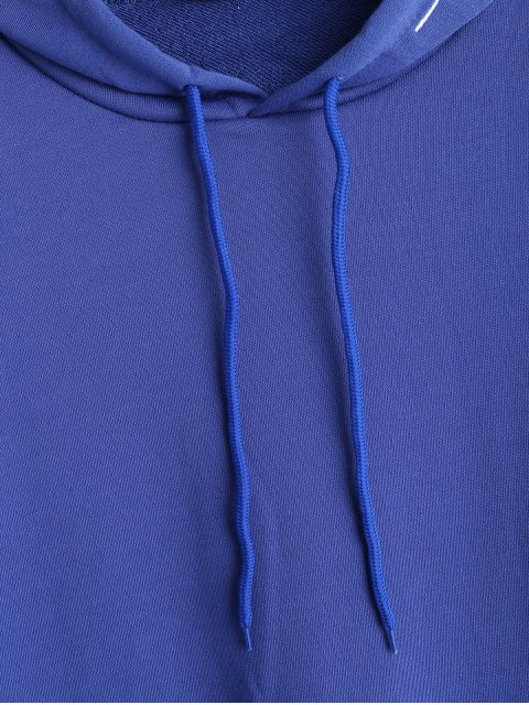 lady Pocket Letter Embroidered Hoodie - BLUE ONE SIZE Mobile