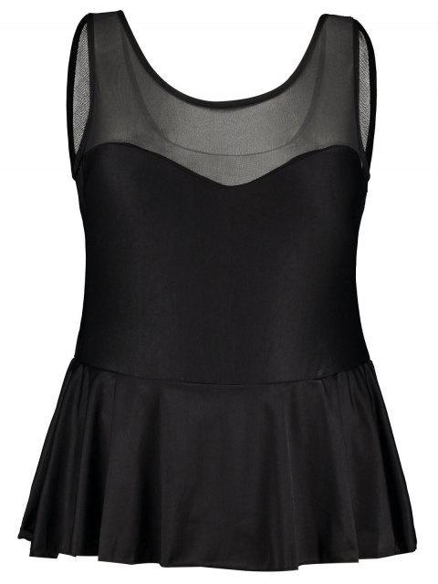best Ruffle Mesh Panel Plus Size Swimsuit - BLACK 3XL Mobile