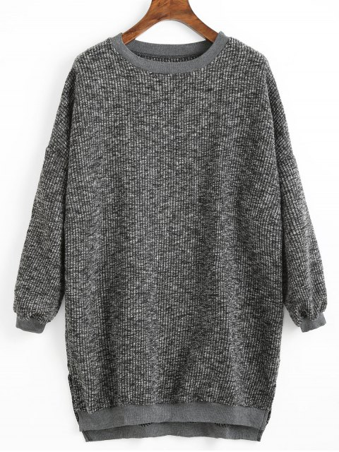 ladies High Low Hem Side Slit Sweater - DEEP GRAY ONE SIZE Mobile