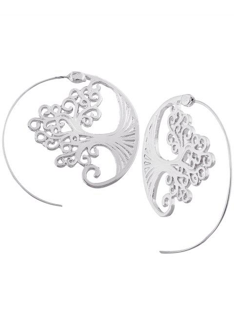Hollow Out Spiral Tree Decorated Stud Pendientes - Plata  Mobile