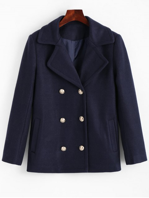sale Lapel Collar Pea Coat with Pockets - CERULEAN XL Mobile