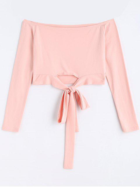 chic Bowknot Cropped Off Shoulder Top - PINK XL Mobile