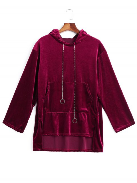 womens Chain Velvet Tunic Hoodie - WINE RED ONE SIZE Mobile