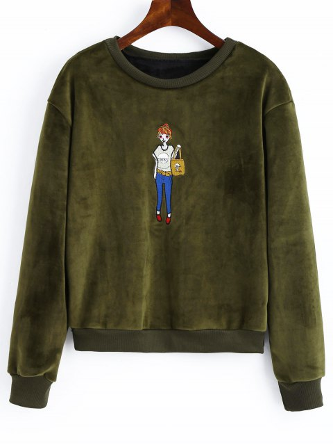 latest Embroidered Velvet Sweatshirt - ARMY GREEN ONE SIZE Mobile