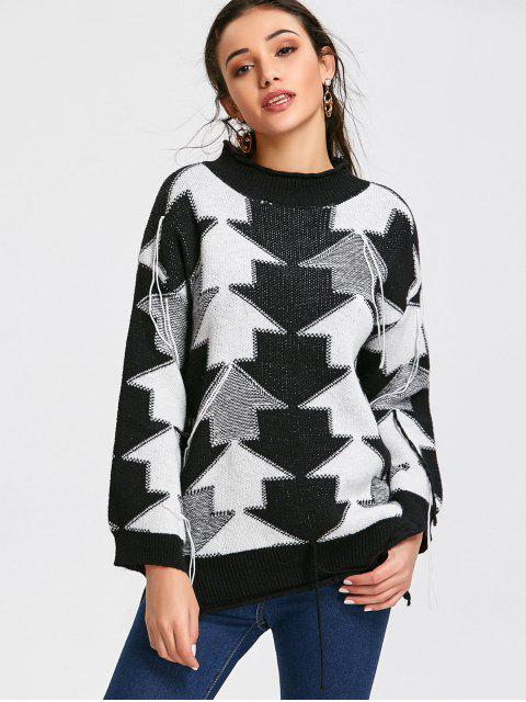new Pullover Contrasting Arrow Tassels Sweater - BLACK ONE SIZE Mobile