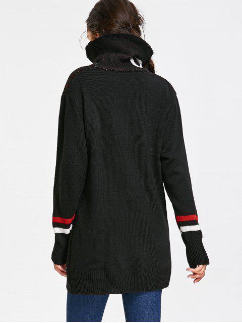 グラフィック特大タートルネックセーター - ブラック ワンサイズ Mobile