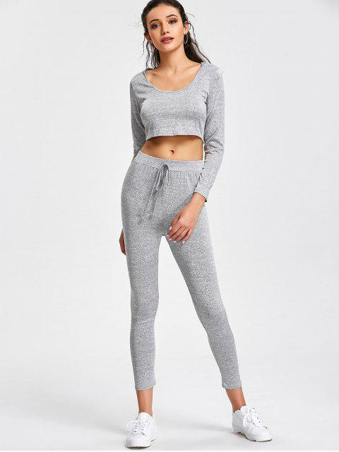 sale Hooded Cropped Top and Sports Drawstring Pants - GRAY L Mobile