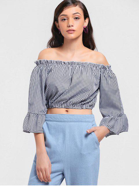 buy Checked Cropped Off Shoulder Blouse - CHECKED XL Mobile