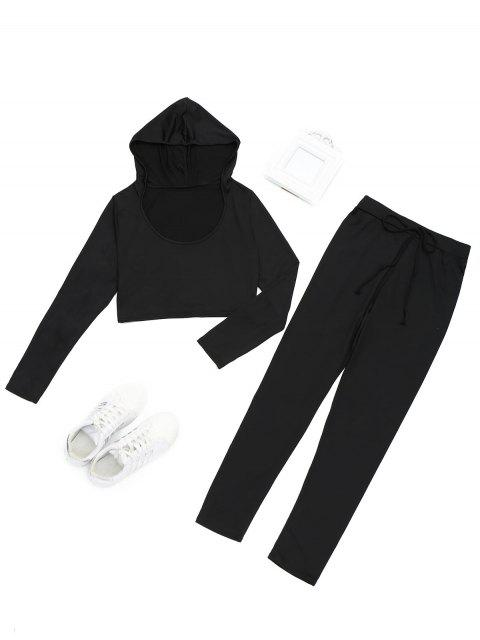 shop Hooded Cropped Top and Sports Drawstring Pants - BLACK S Mobile