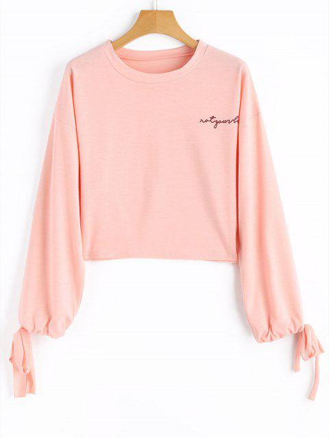 new Drawstring Sleeve Letter Cropped Sweatshirt - PINK XL Mobile