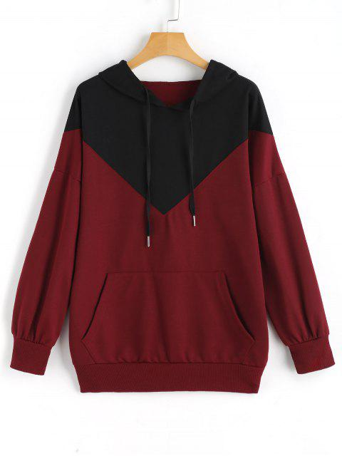 sale Drawstring Loose Two Tone Hoodie - WINE RED XL Mobile