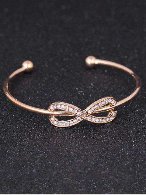 Rhinestoned Infinite Manschette Armband - Golden  Mobile
