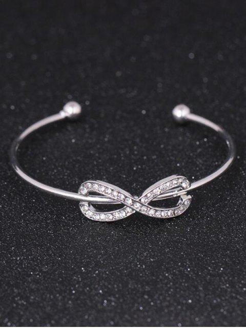 trendy Rhinestoned Infinite Cuff Bracelet - SILVER  Mobile