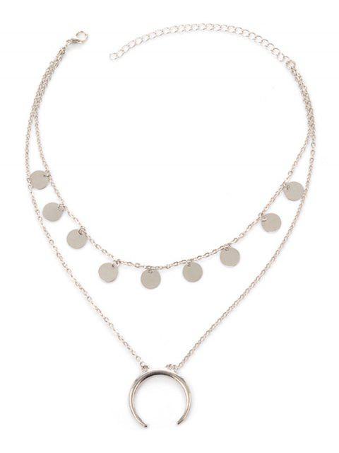 Mondscheibe geschichteten Tribal Halskette - Silber  Mobile