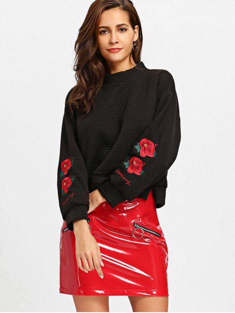 Schlitz Mock Neck Floral gesticktes Sweatshirt - Schwarz M Mobile