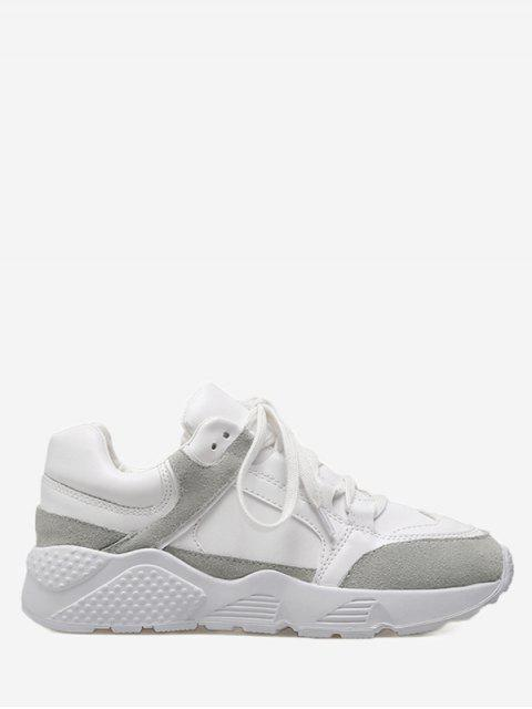 shops Low Top Color Block Sneakers - WHITE 35 Mobile
