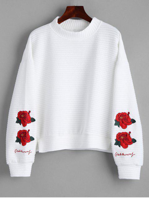 Sweat-shirt Brodé à Fleurs Fendu à Col Montant - Blanc L Mobile