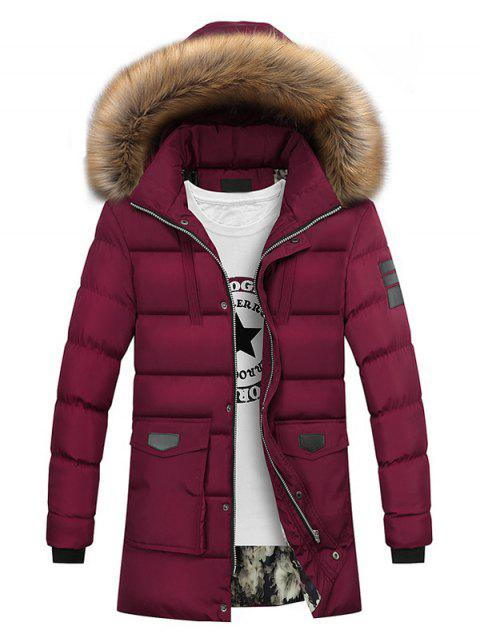 best Faux Fur Collar Pockets Zip Up Down Coat - WINE RED 2XL Mobile