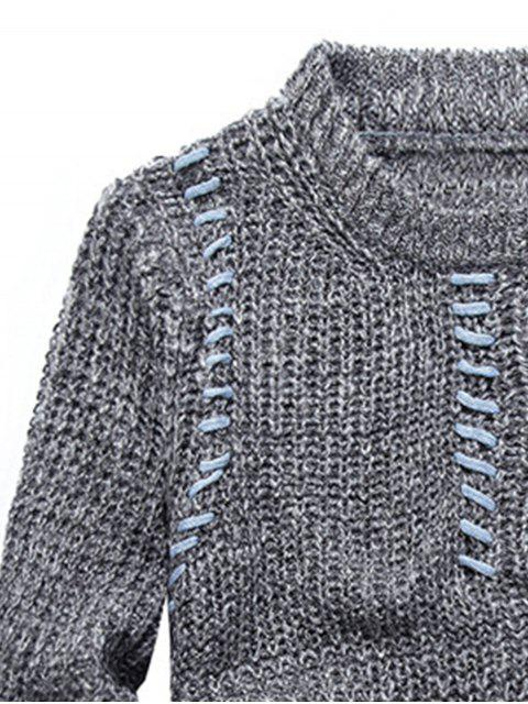 buy Jacquard Pullover Crew Neck Sweater - LIGHT GRAY 2XL Mobile