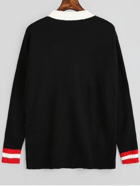 Suéter Pulôver com Estampa Gráfica Natalina - Preto Um Tamanho Mobile