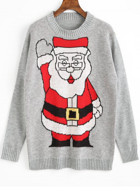 latest Santa Claus Christmas Sweater - GRAY ONE SIZE Mobile