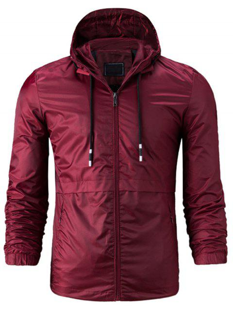 best Hooded Drawstring Zip Up Lightweight Jacket - WINE RED 3XL Mobile