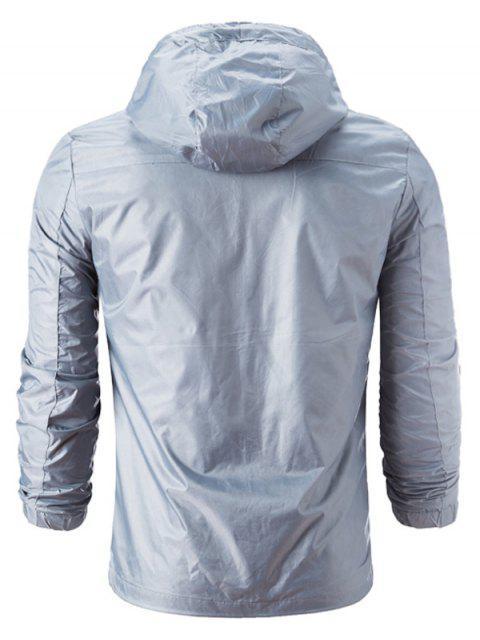 buy Hooded Drawstring Zip Up Lightweight Jacket - GRAY 4XL Mobile