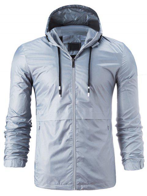 Kapuzenpullover mit Reißverschluss, leichte Jacke - Grau 4XL Mobile